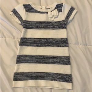 Navy and cream striped sweater dress with bow